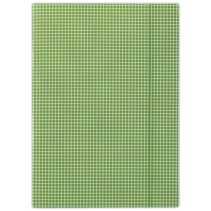 Teczka z gumką DONAU, karton, A4, 400gsm, 3-skrz., zielona w kratę, FEP06